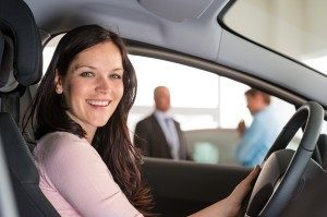Woman in driver seat